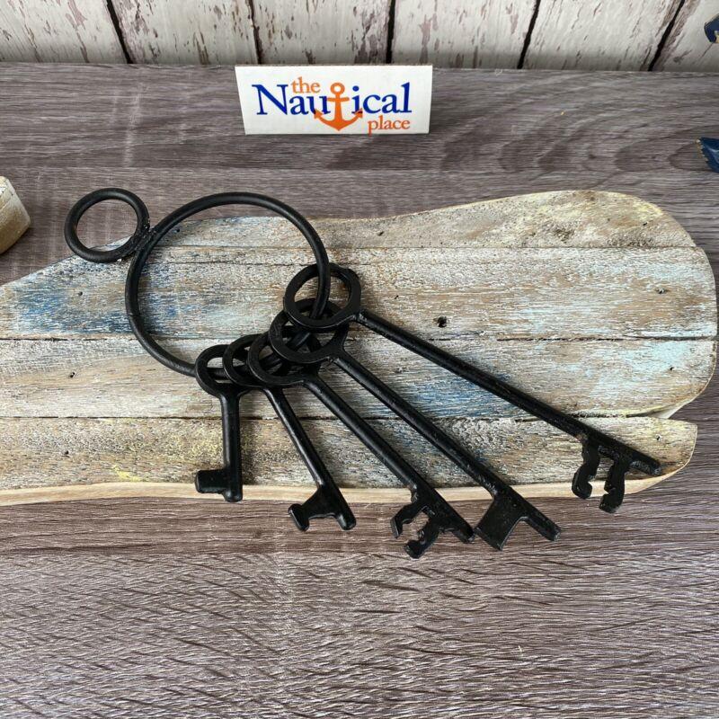Iron Keys On Ring Set ~ Old Vintage Antique 1800s Style ~ Police Jailer ~ Black