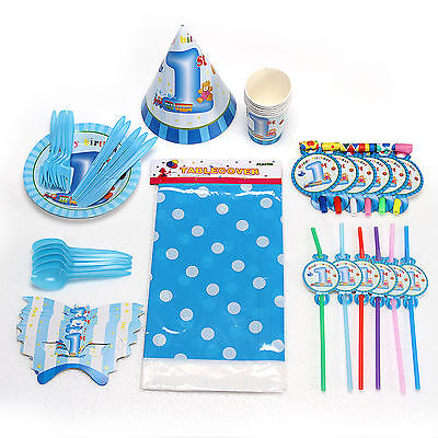 Blue Boy's 1st Birthday Complete Party Tableware Pack Kit For 6