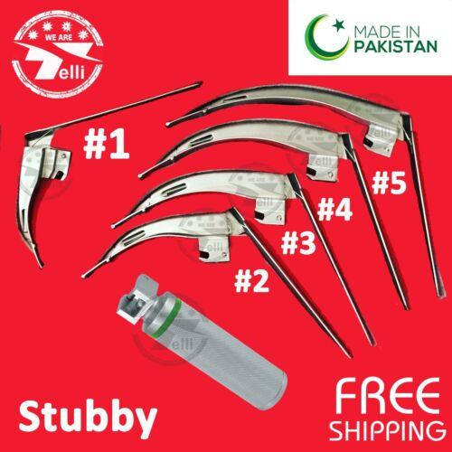 McCoy Flexi-Tip Fiberoptic LED Laryngoscope Set Blade + Stubby Handle Zipper Bag