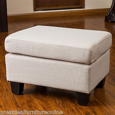 Contemporary Beige Fabric Footstool Ottoman w/ Padded Top