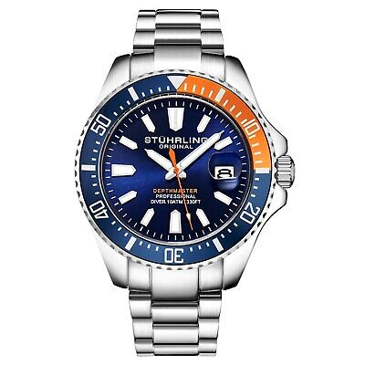Stuhrling 3950 Men's Depthmaster Aquadiver Miyota Japanese Quartz 10 ATM Watch