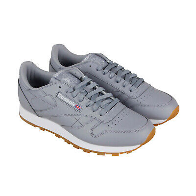 Low Leather Sneakers - Reebok Classic Leather Mu Mens Gray Leather Low Top Lace Up Sneakers Shoes
