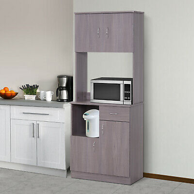 "70"" Modern Kitchen Storage Cabinet Pantry Shelf Microwave Oven"