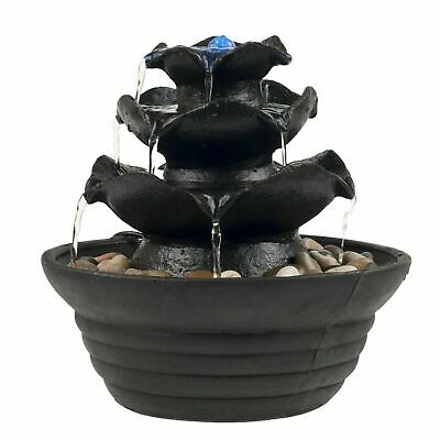 Table Top Electric Water Fountain 3 Tier Cascading Bowls with LED Light