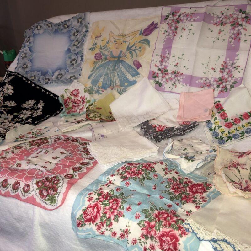 Antique Victorian Blue & Pink  Flower Hanky & Linen