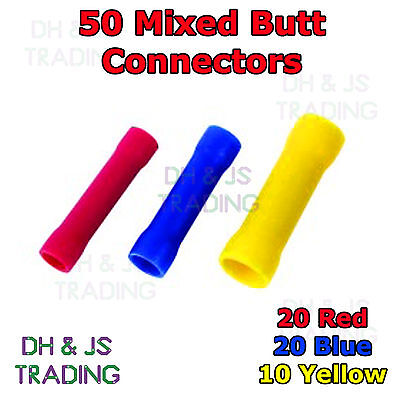 50 Mixed Insulated Electrical Straight Butt Connectors Terminal Wire Cable Crimp