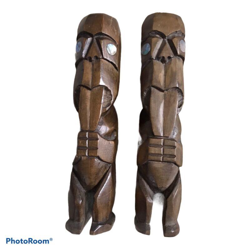Vintage Wooden Tiki Figures/Statues Maori w/Paua Shell Eyes Set of 2