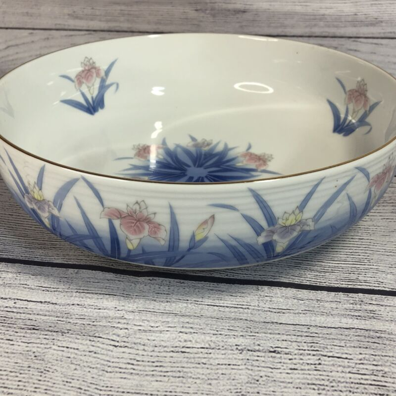 Vintage OTAGIRI OMC JAPAN BOWL Serving or Console Flowers Floral 9""