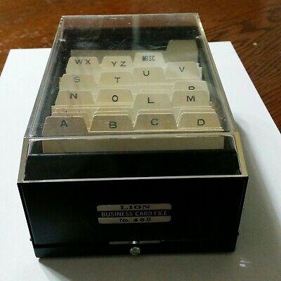 Vintage Lion Business Card File No. 480 Metal Filing Box - Made In Japan