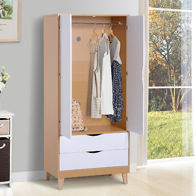 Nordic Style Wooden Wardrobe Clothes Storage Bedroom Organisation W/ 2 Drawers