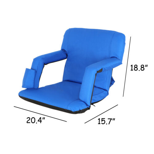 Blue Stadium Seats Chairs for Bleachers Waterproof  – 5 Reclining Positions Other Outdoor Sports