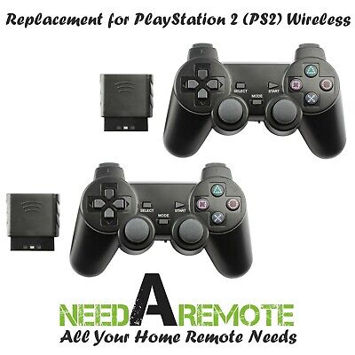 2x For Sony PS2 Wireless 2.4G Twin Shock Game Controller Joystick Black