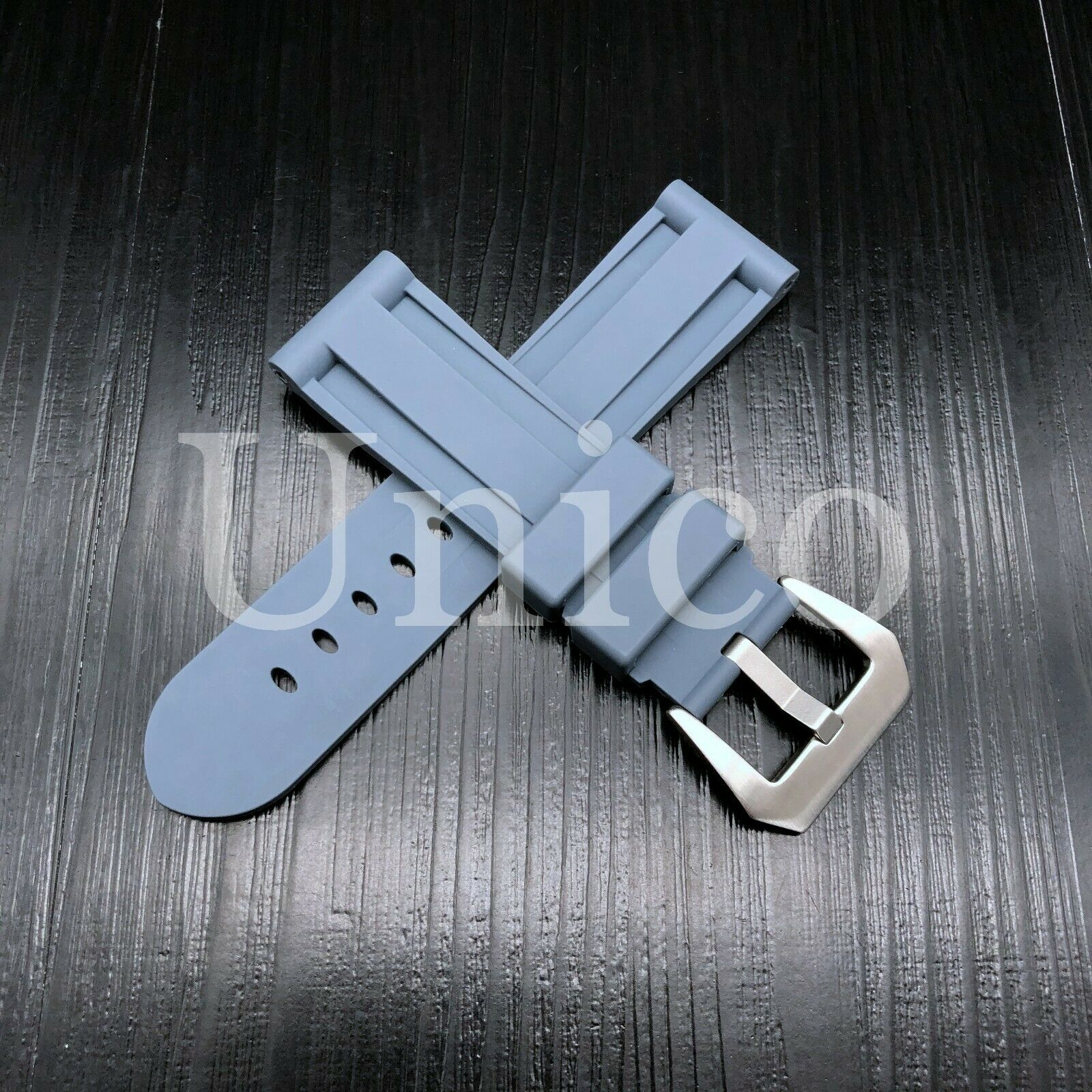 22 MM Gray Rubber Silicone Strap Band Soft Vintage Replaceme