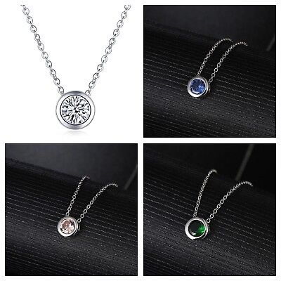 - 2Ct Platinum Plated Silver CZ Crystal Bezel Set Solitaire Pendant Necklace N40