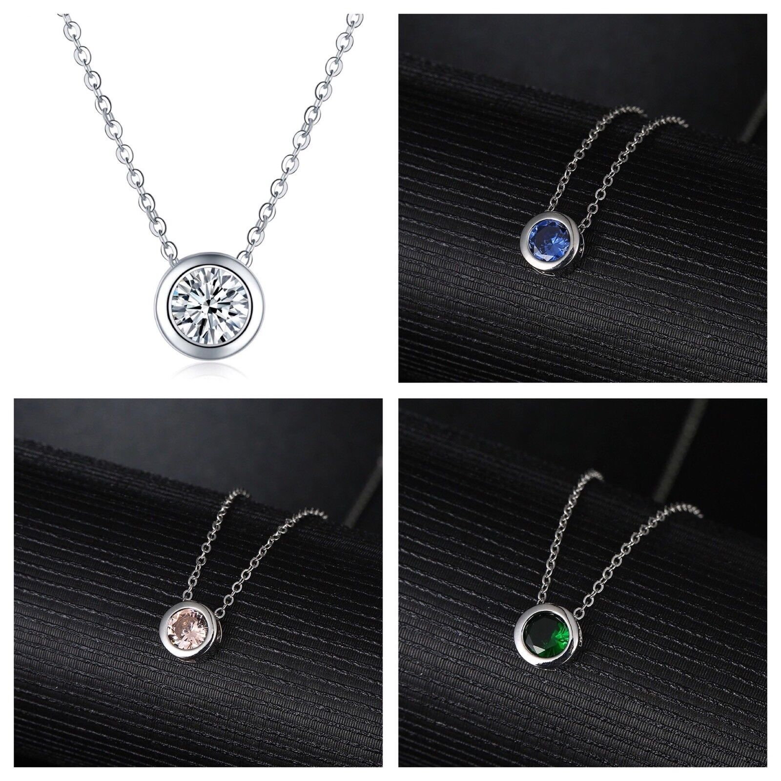 2Ct Platinum Plated Silver CZ Crystal Bezel Set Solitaire Pendant Necklace N40 Fashion Jewelry