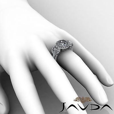 3 Stone Dazzling Round Diamond Solid Engagement Ring GIA G SI1 Platinum 2.3 ct 6
