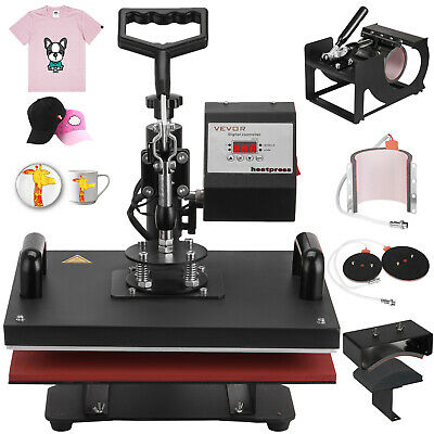 6in1 Heat Press Machine Digital Transfer Sublimation Cup T-shirt Mug Hat Plate