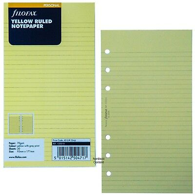 Personal Ruled Notepaper - Filofax 133010 Personal Size Yellow Ruled Notepaper, 95mmx171mm, Pk of 30 Sheets