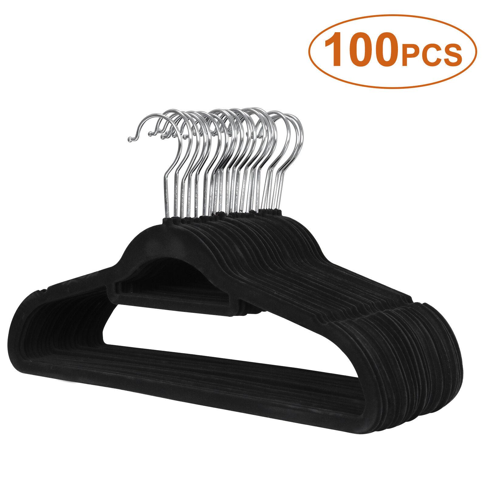 Premium Non-Slip Flocked Velvet Hangers 100Pack Clothes Hangers Suit Shirt Pants Clothes Hangers