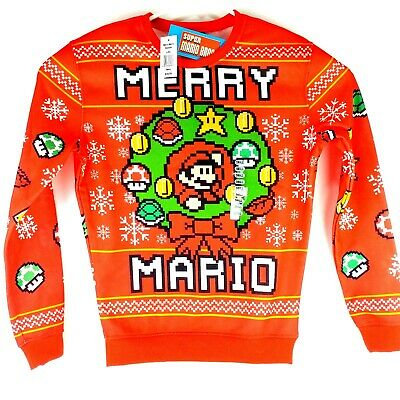 New Super Mario Bros Merry Christmas Ugly Sweater Sweatshirt Nintendo Small C5