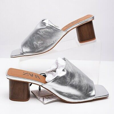 Used, Zara Womens High Heeled Metallic Leather Mules Sz 10 Eu 41 Sandals 6317/081 NWT for sale  Shipping to Nigeria