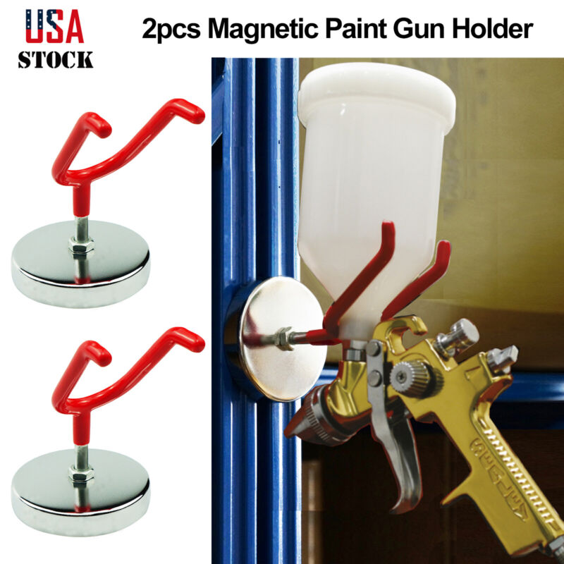 2x Magnetic Paint Spray Gun Holder Stand Gravity Feed HVLP Booth Body Shop Wall