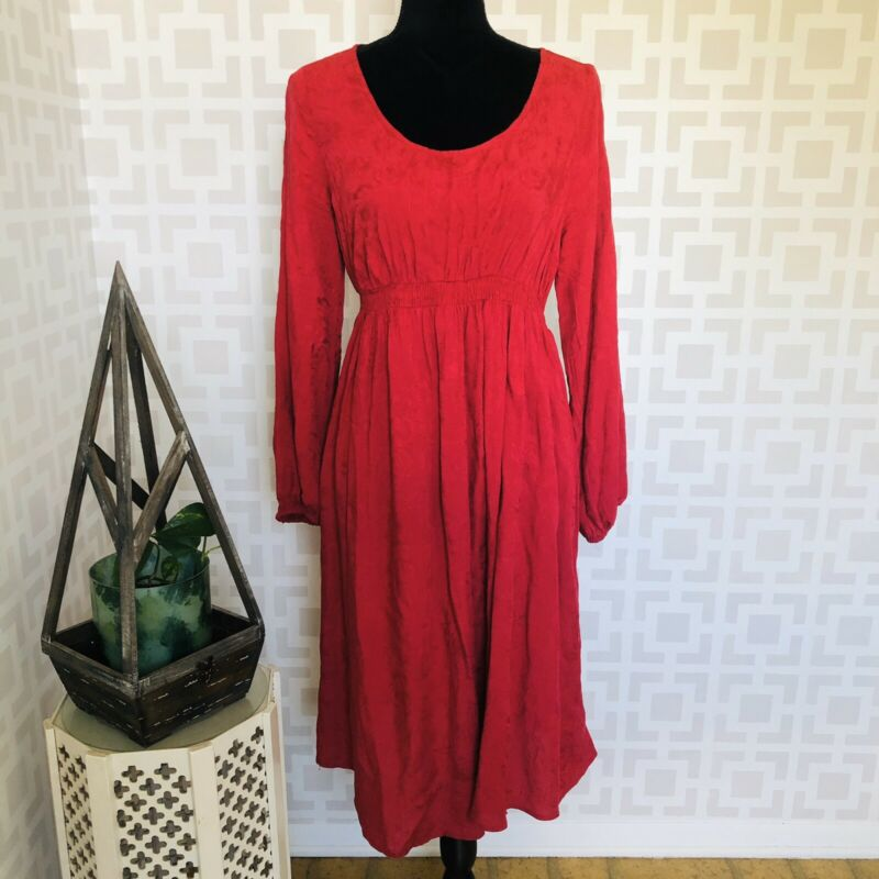 Isabel Maternity Dress Red Long Sleeve Shirtdress S NWT