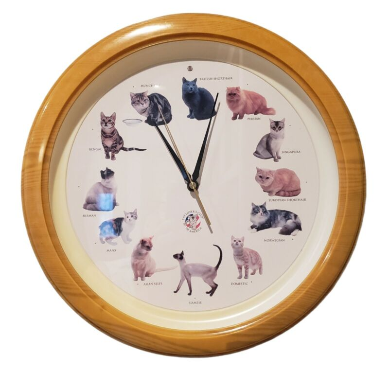 "Feline Cat Round Wall Clock Cat Sounds Battery Operated Meow Clock 13"" Faux Oak"