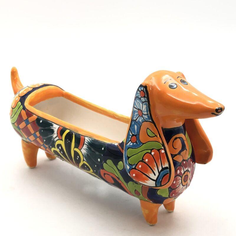 Talavera Pottery Handmade Weenie Dog Planter Made in Mexico
