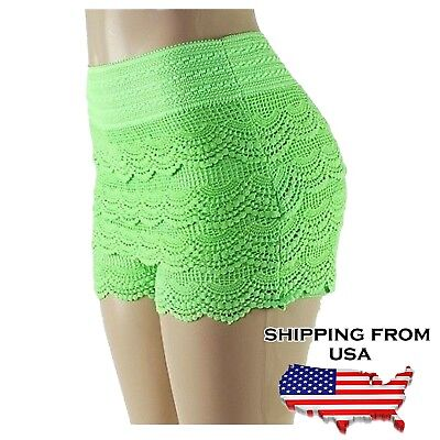 Lady Crochet Tiered Lace Shorts Skorts Short Neon Green S/M for sale  Shipping to India