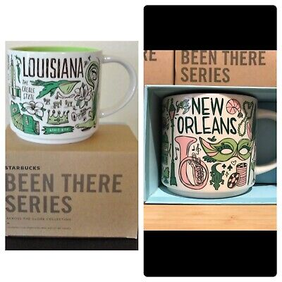 """Starbucks New Orleans & Louisiana   """"Been There Series"""" 14oz Mugs. With Boxes."""