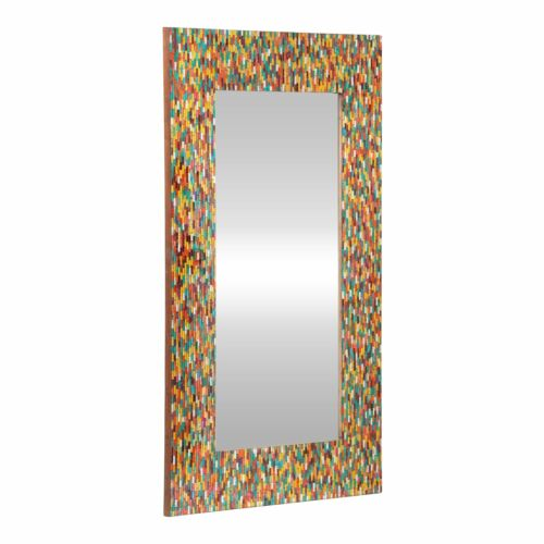 Holgate Boho Handcrafted Rectangular Mosaic Wall Mirror, Multi-Colored Home & Garden