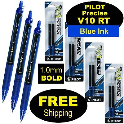 Pilot Precise V10 Rt 3 Pens 4 Packs Of Refills Blue Ink 1.0mm Bold Point