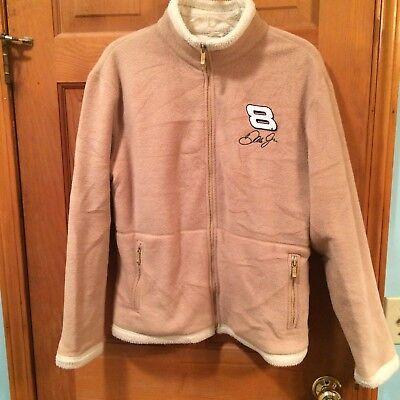 Ladies Dale Earnhardt Jr no 8 North End tan & white fleece coat size M EUC Dale Earnhardt Jr Fleece