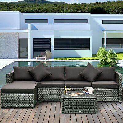 6 Piece Outdoor Patio PE Rattan Wicker Sectional Sofa Deluxe Furniture Set Grey