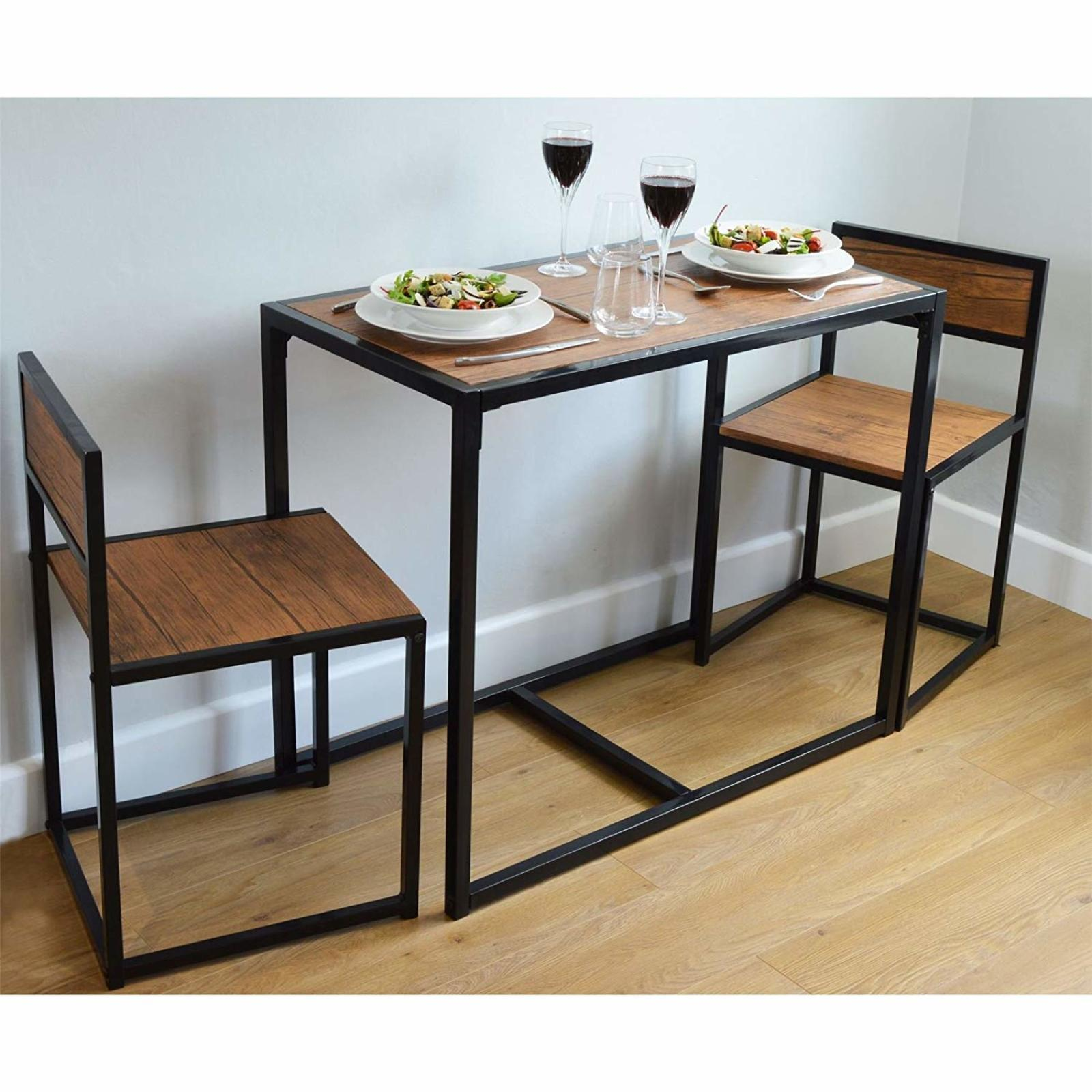 Dining Table And 2 Chairs Set 2 Person Space Saving Compact Home Furniture New Ebay