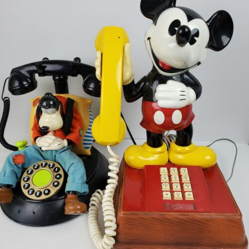 Vintage Goofy & Mickey Mouse Telephones FOR PARTS ONLY