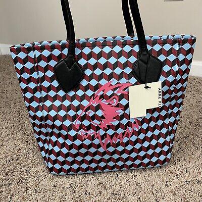 NWT Anne Klein Georgia Tote handbag MSRP $98.00 Blue Maroon Zip Lion