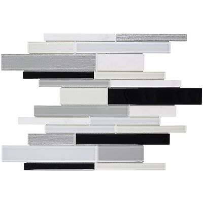 Modern Linear Black White Glossy Glass Stone Mosaic Tile Backsplash MTO0311