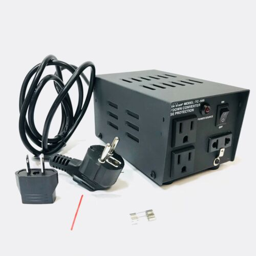 AC300 300 Watt Heavy Duty Power Voltage Converter 3 Outlets 110V To 220V Up Down