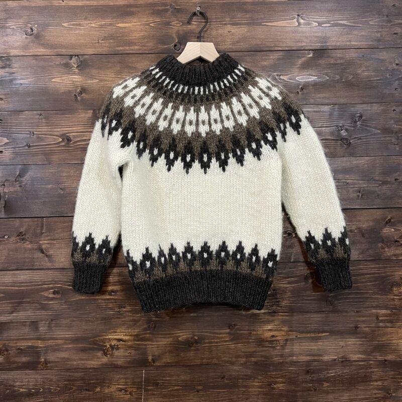 Vintage Icewool Icelandic fair isle knit sweater Iceland pullover wool