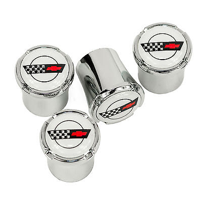 Chevrolet Corvette C4 Logo Chrome Tire Valve Stem Caps - White Logo - USA Made