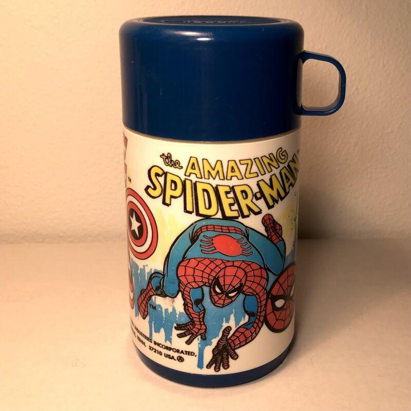 VTG 1983 Marvel Comics Superhero Aladdin Thermos Hulk Spiderman Captain America