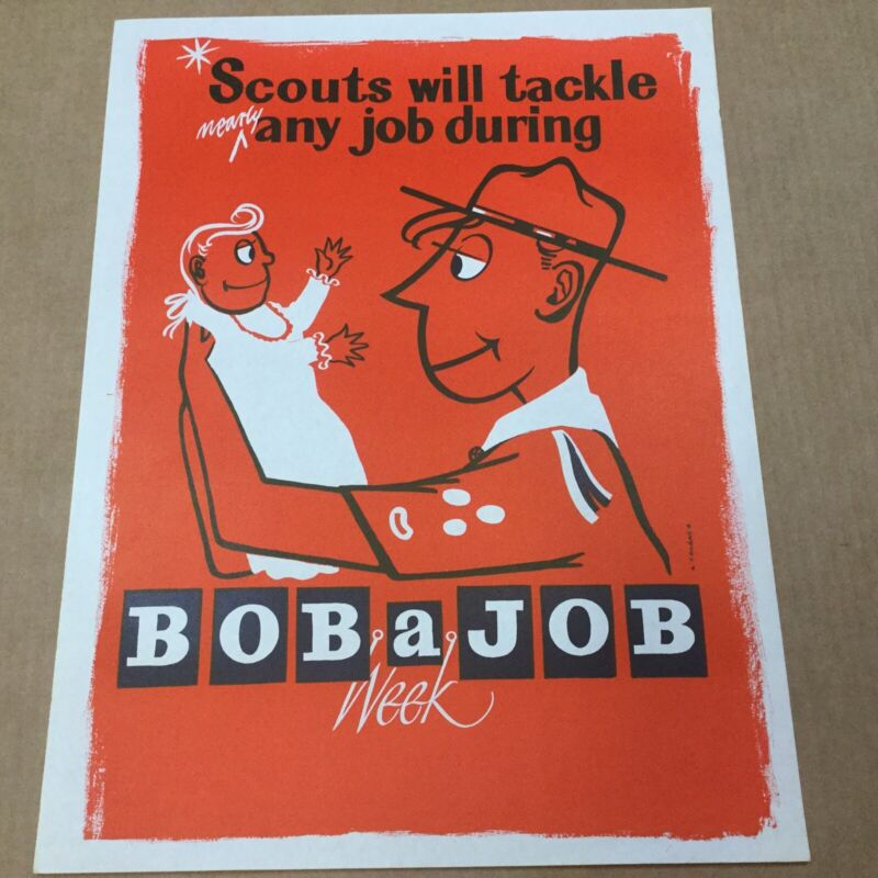 """Boy Scout Poster Scouts Will Tackle Any Job During Bob A Job Week 20"""" x 15"""""""