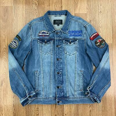 SUPERDRY Mens Denim Jacket | Jean Trucker Japan | 2XL XXL Blue
