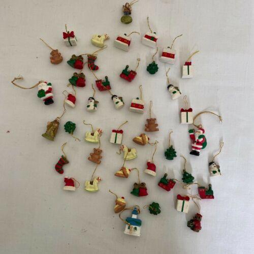 Lot of 46 Vintage Tiny wood Christmas ornaments Folk Art Santa Snowman