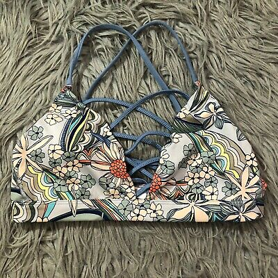 Victoria Secret Sport Sports Bra Blue Retro Floral Strappy Sz M