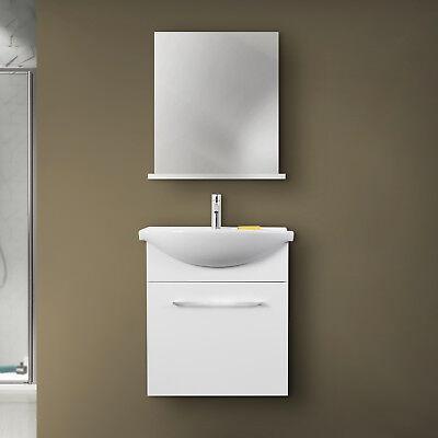 Mobile bagno sospeso bianco lucido con lavabo in ceramica e specchio con mensola