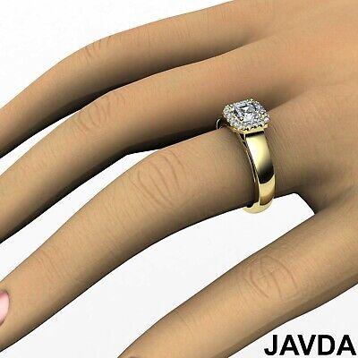 Asscher Diamond Engagement GIA H VVS2 18k White Gold Halo Pave Set Ring 0.7Ct 7