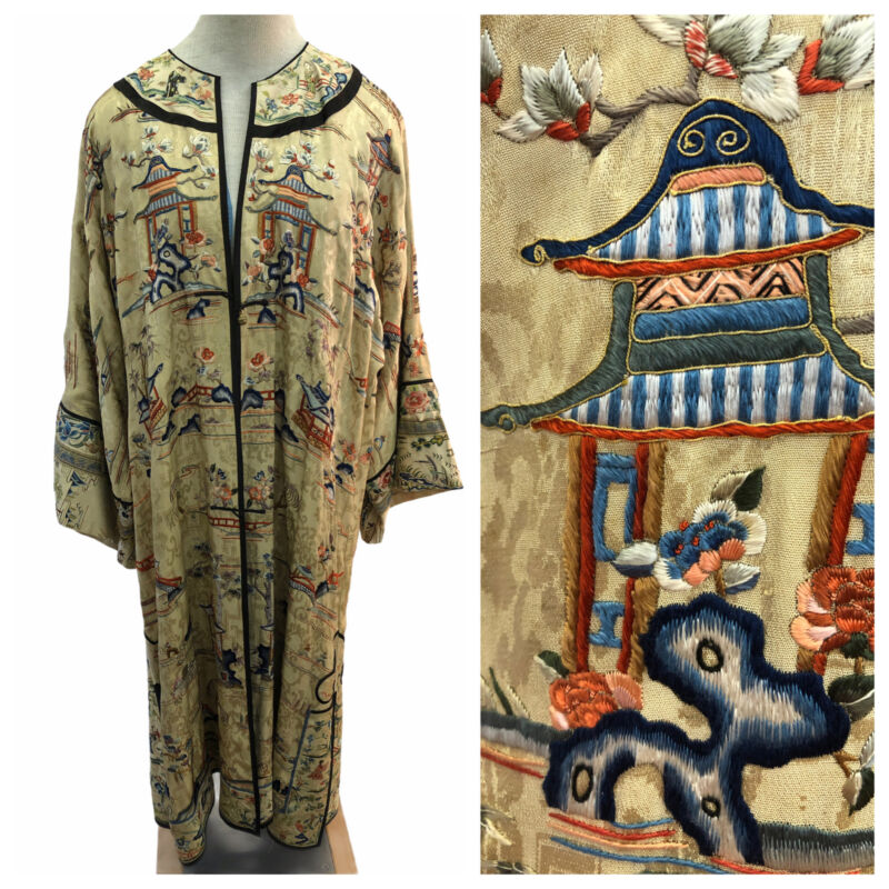 Vintage 19th Century Qing Dynasty Chinese Silk Microembroidered Robe Jacket